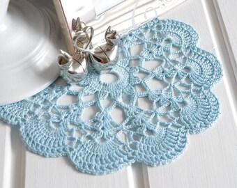 Small crochet doilie Light blue cotton lace doilies Handmade crocheted crochet doily Crochet table decoration 114