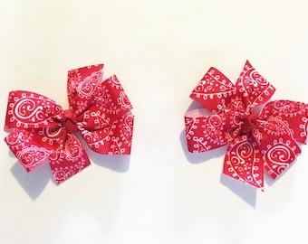 Pigtail Hair Bows, Set of Hair Bows, Bandana Hair Bow, Red Hair Bow