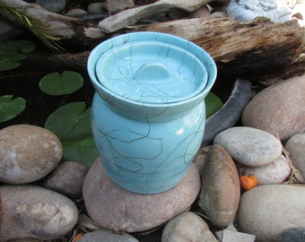 Mid Century Modern Pottery Vessel/ Cookie Jar Blue
