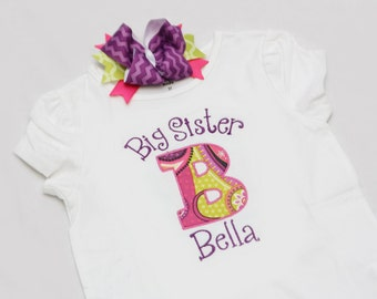 Personalized Big/Middle/Little Sis Shirt or Bodysuit and Coordinating Hairbow
