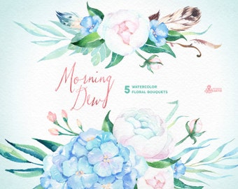 Morning Dew. 5 Watercolor bouquets, wedding, invitation, floral, feathers, boho, diy, flowers, spring, peonies, mint, blue, quotes, holiday