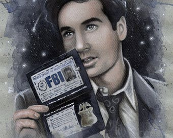 """Fox Mulder - The X-Files Traditional Art Watercolor/Pastel Painting - Photo Print 20x30cm (7.9"""" x 11.8"""") - Hand Signed"""