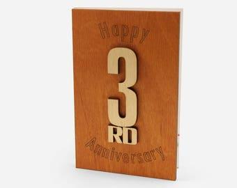 3rd Anniversary Card, Third Anniversary, 3rd Anniversary Gift, 3 Wedding Anniversary, 3 Year Anniversary, Leather Anniversary, Wood Cards