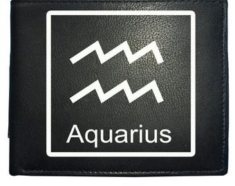 Aquarius 'THE WATER BEARER' horoscope Air sign - astrological symbol Men's Leather Wallet From FatCuckoo WBF2101