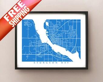 Sturgeon Bay, WI Map Print - Wisconsin Poster
