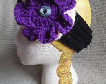 Black Headband with 2 Interchangeable Flowers, Baby Pink, Dark Orchid
