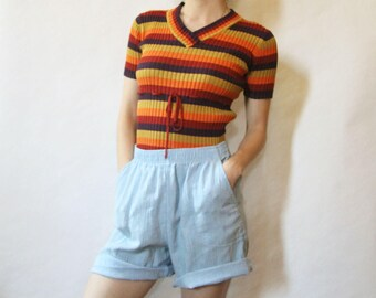 70s Striped Stretchy Top XS