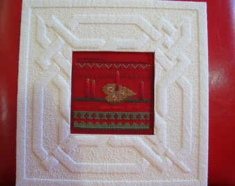 Heart and candles embroidered cross stitch chart