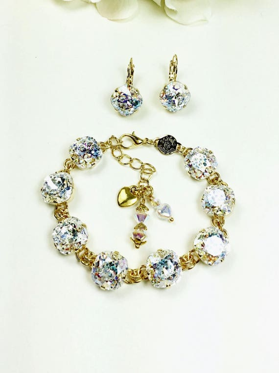 Swarovski Crystal 12mm Cushion Cut Deco Style Bracelet  - Designer Inspired - Sparkle & Shimmer - White Patina - SALE - FREE SHIPPING