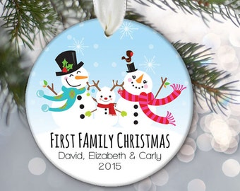 Personalized family ornament, Snowman family ornament, Custom Christmas Ornament, Holiday Ornament Name & Year Snowman Ornament OR673