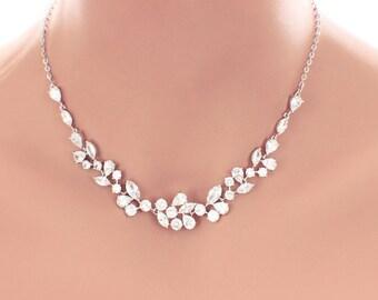 Crystal wedding necklace, crystal wedding jewelry, Swarovski crystal necklace, cubic zirconia, bridal jewelry, bridal necklace accessory