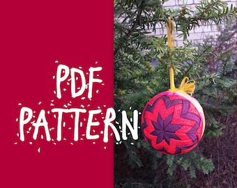 TUTORIAL - Quilted ball PDF file Easter Ornament Tutorial Eastre Christmas Ornament  Ball Pattern Handmade Lesson NO Sewing Instant Download