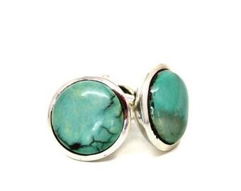 Turquoise cufflinks - Silver cufflinks - Gemstone cufflinks - Turquoise jewelry - Men's jewelry - Gift for men