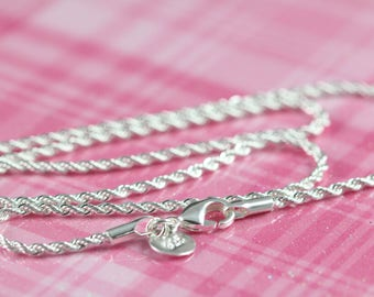 5 Wholesale Rope Chain Necklaces Sterling Silver and Rhodium Plated , 2 mm Thickness , 18 20 22 24 inches