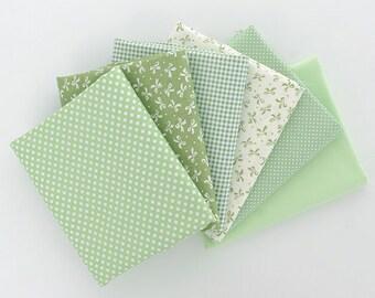 Spring Green Cotton Twill Fabric,Dot Bowknot Plaid Solid Fabric - 1/2 Yard
