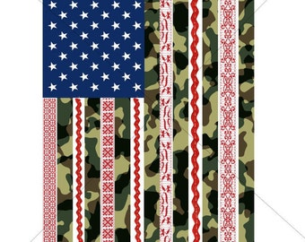 Camo and Red Lace Flag Sublimation Transfer