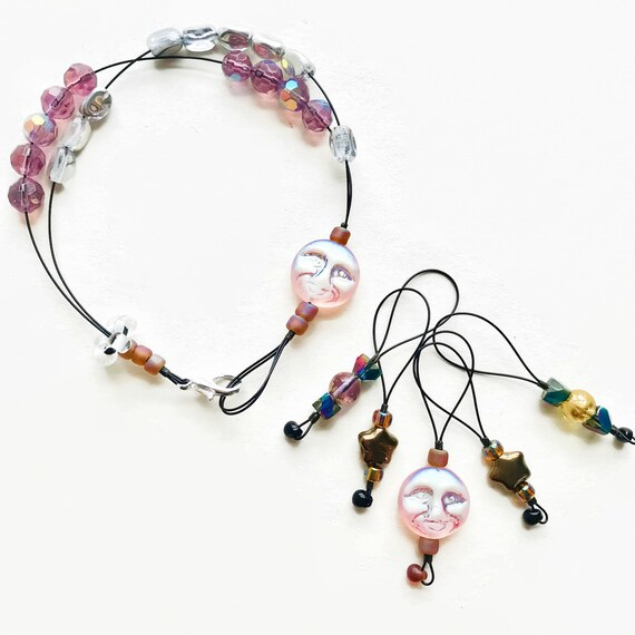 SHIMMER MOON knitting stitch markers and row counter bracelet