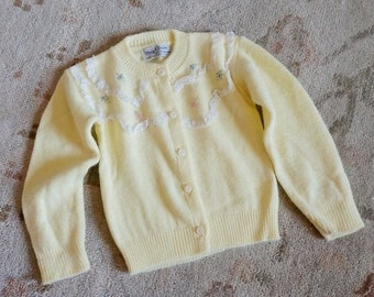 "SALE Vintage 1960s Baby Size 3-6M Sweater, May Claire Pale Yellow Cardigan Lace Floral Embroidery, chest 19"" length 10.5"""