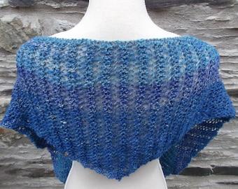 Blue Colourway Handspun Pure Wool and Silk Scarf/ Shawlette