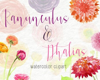 Watercolor Clip Art - Flowers- Personal Use- Instant Download- Dahlias- Ranunculus- Spring- Summer- Pretty- Beautiful- Colorful- Fragrant