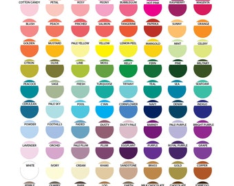 Custom Color Changes Chart, for order with OhCreativeOne, LLC Listings