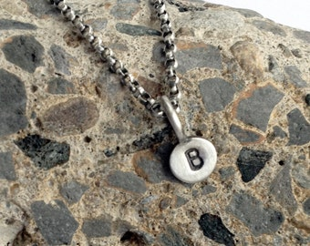 Personalized Necklace Itty Bitty Initial Tag Stamped Sterling Silver Paddle Tag Charm