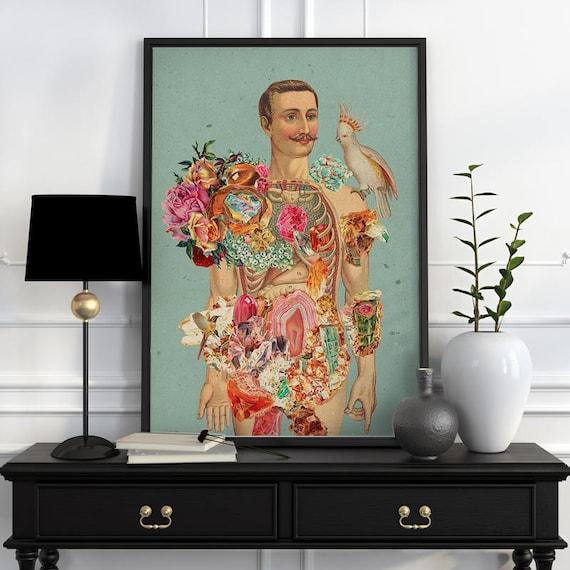 Mr Nature -Body study art- Wall Anatomical art decor Chic anatomical art minerals art print. Wall flower wall art, SKA118WA3