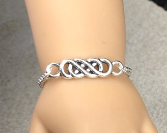 """My doll and me matching Celtic infinity symbol silver plated bracelets for girls and their American Girl doll and/or other 18"""" dolls"""