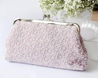 Lilac Lace Bridal Clutch | Four Leaves Lace Bag - QUATREFOIL