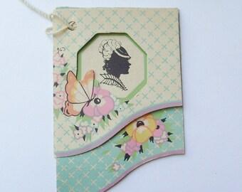 Art deco bridge tally card lady silhouette ephemera