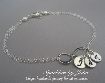 Personalized Silver Infinity Bracelet - Sterling Silver Infinity, Hand Stamped Initial Charms, Mother, Husband & Wife, Sisters, Best Friends