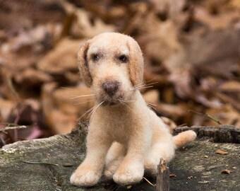 Needle Felted Dog Soft Sculpture Dog Yellow Labrador Retriever Free Shipping Wool Felted Dog Fiber Animal