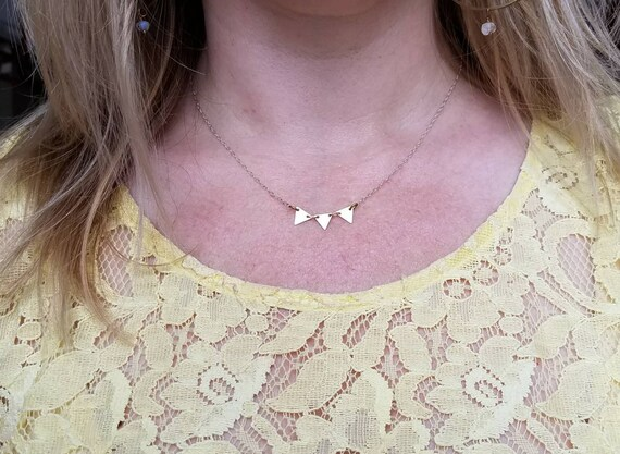 Tiny triangle trio necklace brass and silver