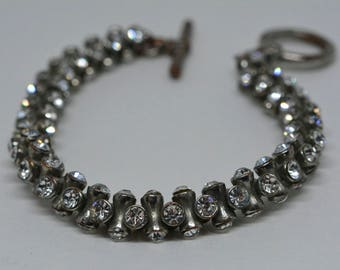 Sparkling Silver Tome Bracelet With Crystals