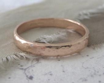 Rose Gold Wedding Band - Hammered Wedding Band - 9ct Rose Gold Wedding Band - 3mm