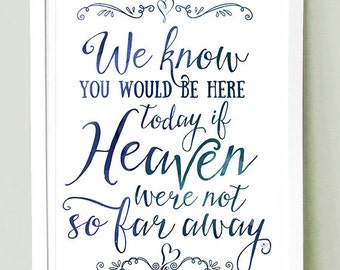 Wedding Sign Signage Instant printable  / We know you'd be here today if Heaven weren't so far away / Lg Watercolour Digital / 11x17 & 16x20