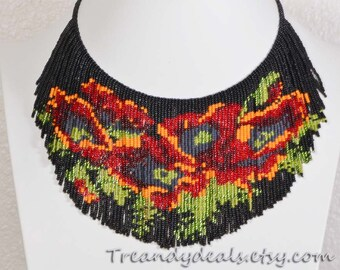 Red Poppy Flower bead-work necklace bead- weaving  fringe necklace seed bead choker necklace, by Trendydeals