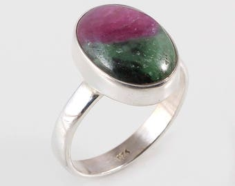 Ruby zoisite 92.5 sterling silver ring size 7 us