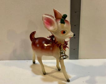 Vintage Plastic Reindeer, Blow Mold Deer, Red Brown and White Spots Reindeer, Celluloid, Green Antlers, Tinsel Bell, Japan, Circa 1940s