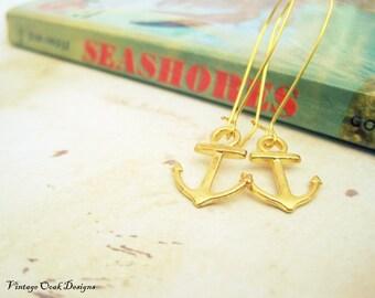 Gold Anchor Earrings, Golden Anchors, Anchor Dangle Earrings,Anchor Jewelry, Anchor Nautical Earrings,Gold Nautical Jewelry, Summer Fashion