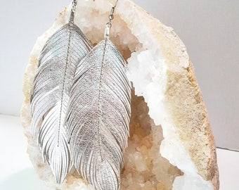 Feather Earrings, Etsy Best Sellers, Large Feather Earrings, Leather Earring, Big Earrings,  Bohemian Earrings, Boho Earrings, Bridal Gift
