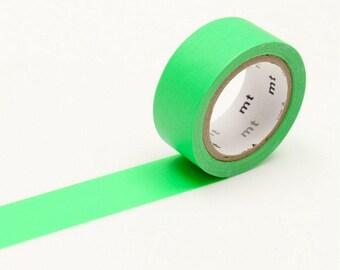 Neon Green Washi Tape • MT Masking Tape • MT Fab Washi Tape • Washi Tape UK • Japanese Stationery • Fluro Green