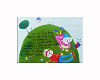 Jack and Jill Canvas / Children's Art / Nursery Rhyme Painting / Nursery Decor