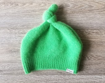 Best TODDLER Cashmere Beanie // 1-4 years // Lime Green // Upcycled Cashmere sweater // Kid Beanie // Knotted Beanie