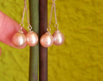drop pearl drop earrings silver hanging earrings pearl earrings long Earrings Long Pearl Earrings Silver dangle earrings Chain Earrings