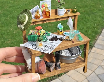 Decorated Garden Potting Bench - IGMA Artisan Diane Paone Dollhouse Miniature