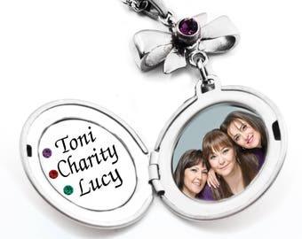 Sisters Photo Locket, Sisters Engraved Locket, Sisters Names, Sister Set, Sisters Birthstones, Personalized Engraving, Stainless Steel