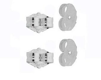 4 14K White Gold Earring Backs Ear Post Nuts Deluxe