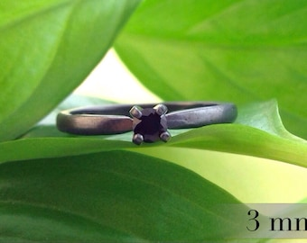 Black Spinel Ring, 3mm Promise Ring, Black Diamond Alternative, Bridesmaid Gifts, Engagement Ring, Wedding Ring