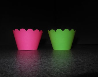 Hot Pink and Lime Green Cupcake Wrappers- Set of 12